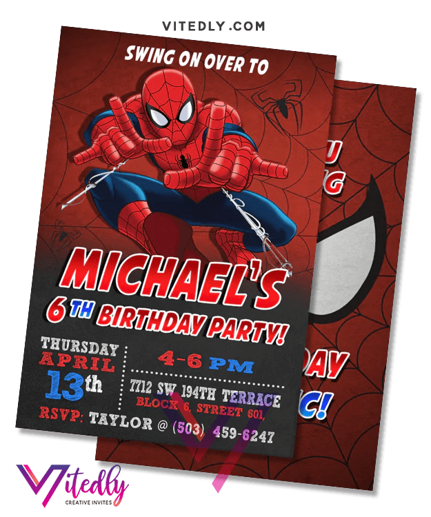 spiderman birthday invitation with free thank you card