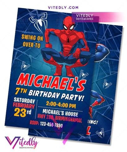 spiderman birthday invitation with free