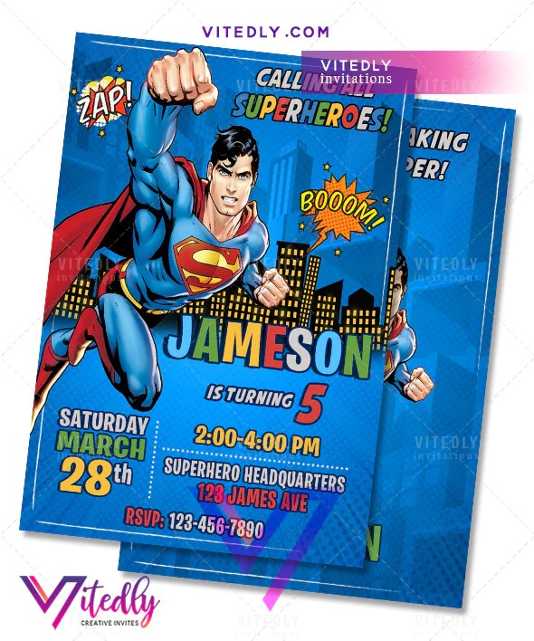 superman birthday invitations with free thank you card