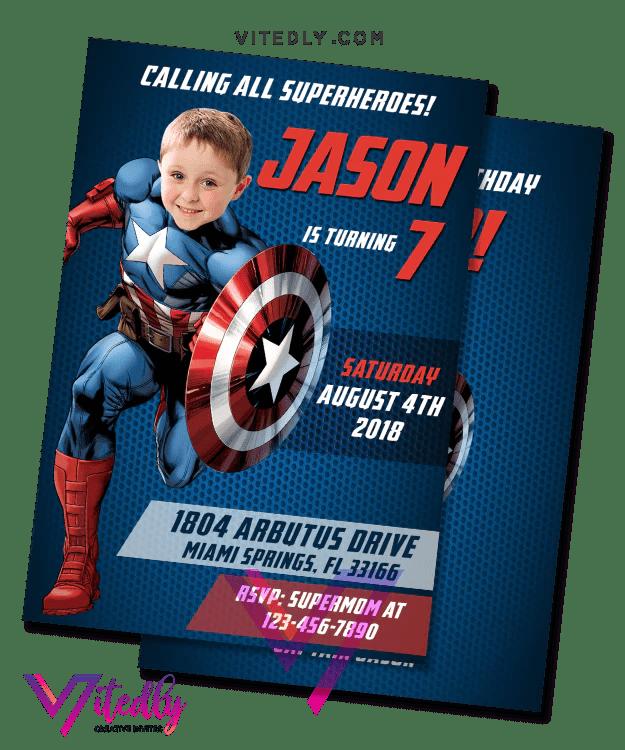 captain america invitation with custom face captain america birthday invitation captain america invitation