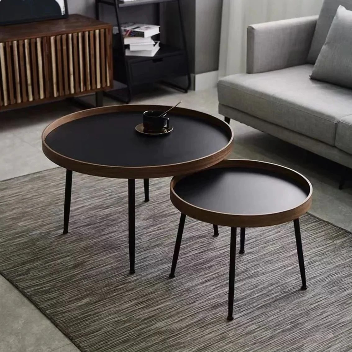 Como Black Walnut Round Nesting Coffee Tables Urban Mood