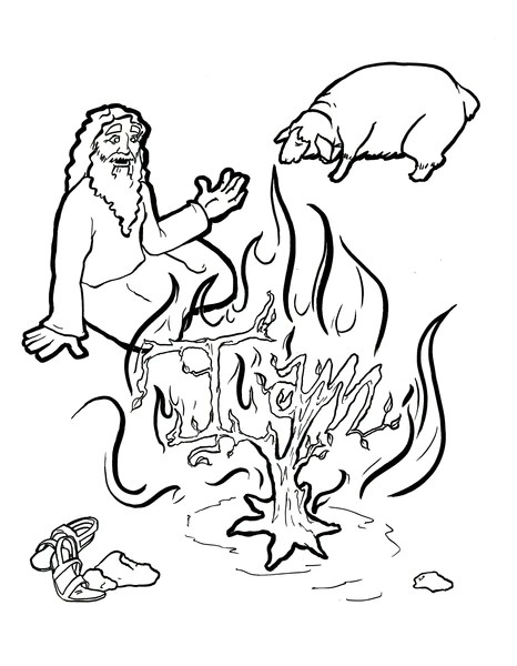 burning bush coloring page # 1