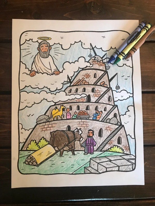 tower of babel coloring page # 13