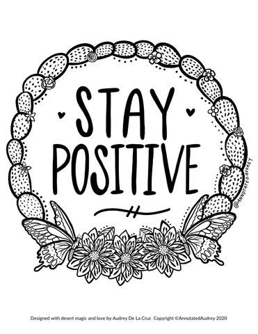Stay Positive Free Coloring Page Annotated Audrey