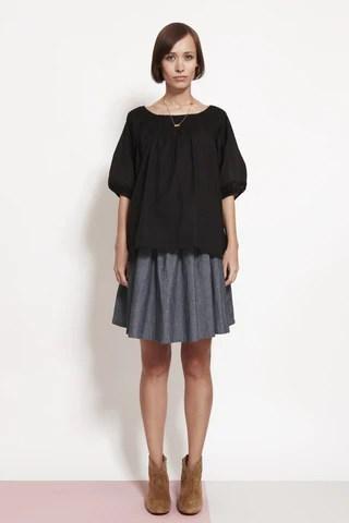 Pleat Front Black Shirt
