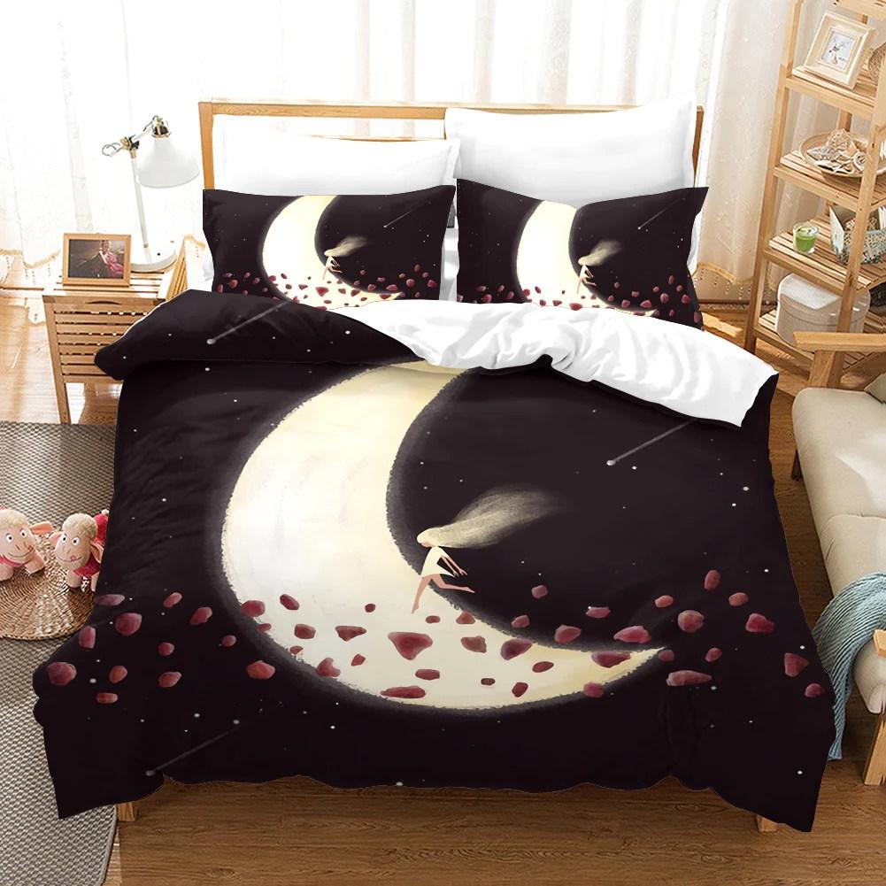3d dark brown diamond moon girl quilt cover set bedding set pillowcase jessartdecoration