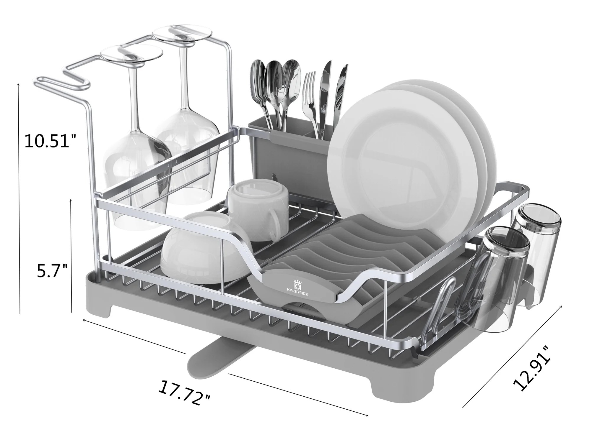 aluminum dish drying rack with over