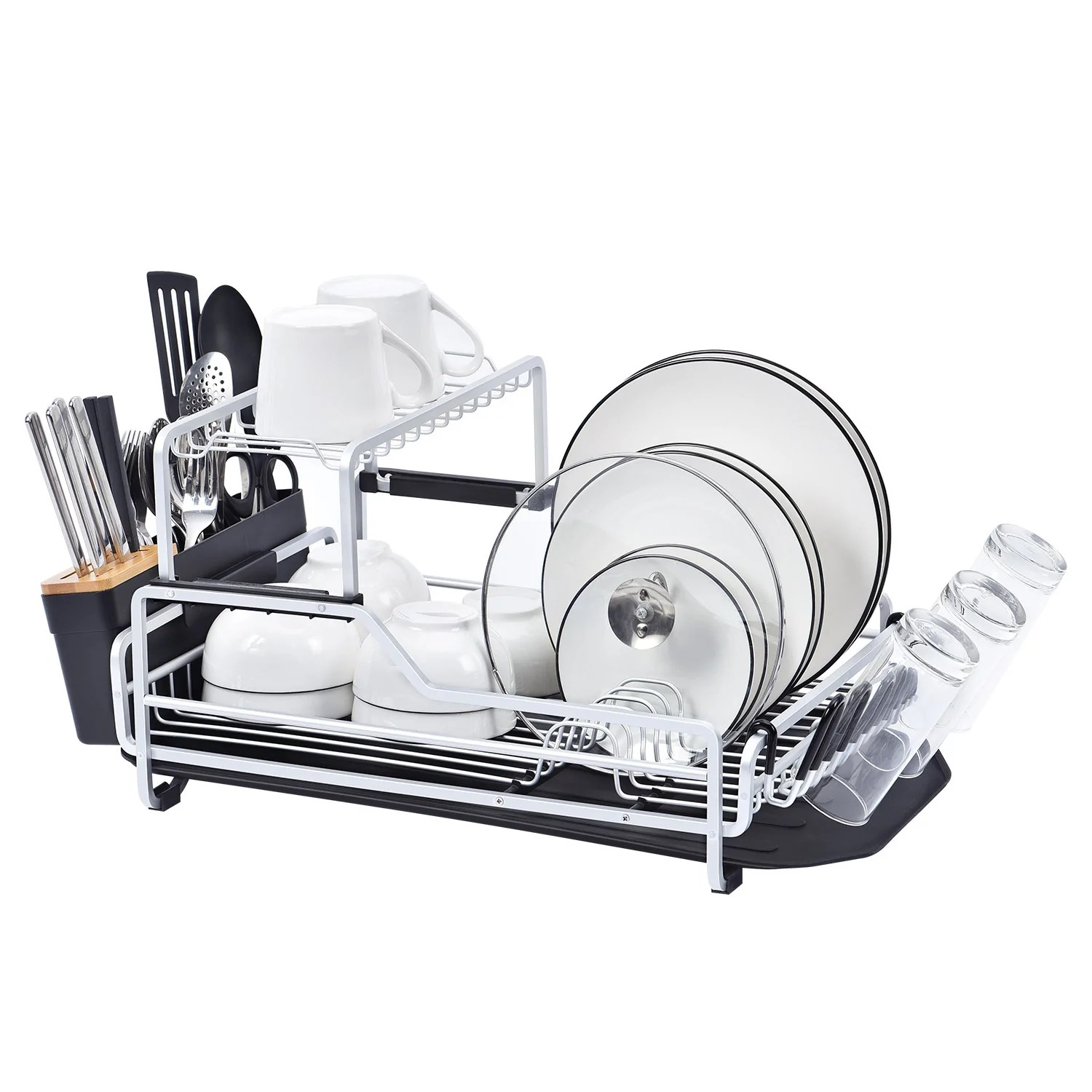 2 tier xxl aluminum dish drying rack with drain board customizable dish holder set with removable top shelf wk112099