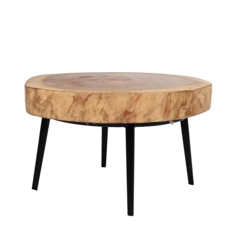 suar coffee table with black iron legs 65cm