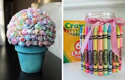 candy and crayons