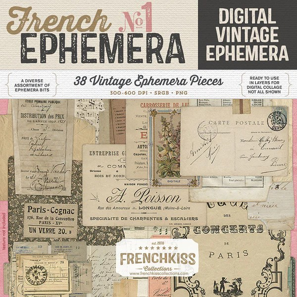 Digital Vintage French Ephemera No 1 French Kiss