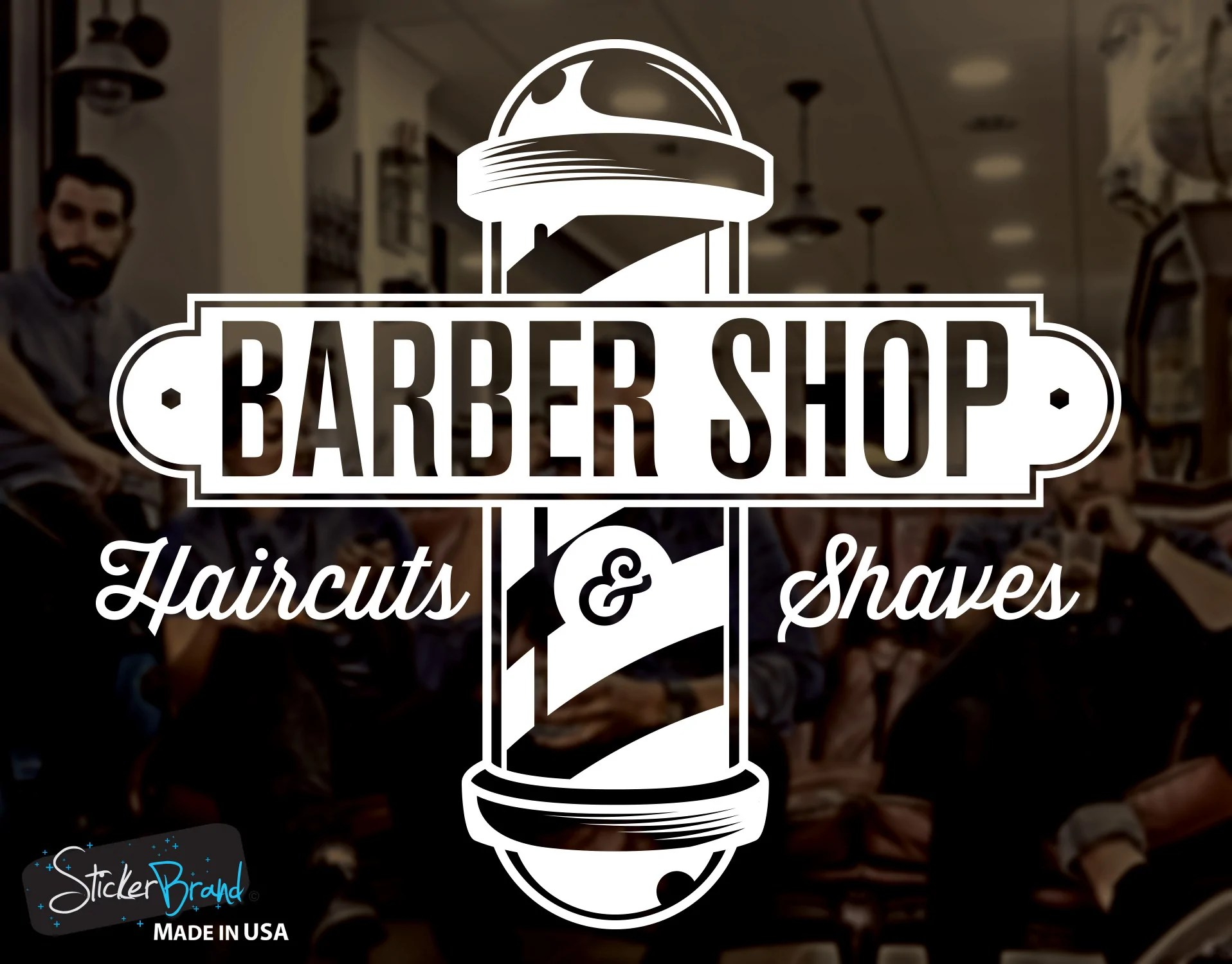 Barbershop Sign Haircuts And Shaves Vinyl Wall Decal