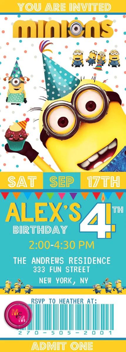 editable minions birthday party ticket invitation printable minions c mugandmousedesigns