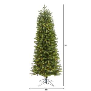 6 5 Slim Colorado Mountain Spruce Artificial Christmas Tree With 450 Multifunction With Remote Control Warm White Micro Led Lights With Instant Connect Technology And 918 Bendable Branches Nearly Natural