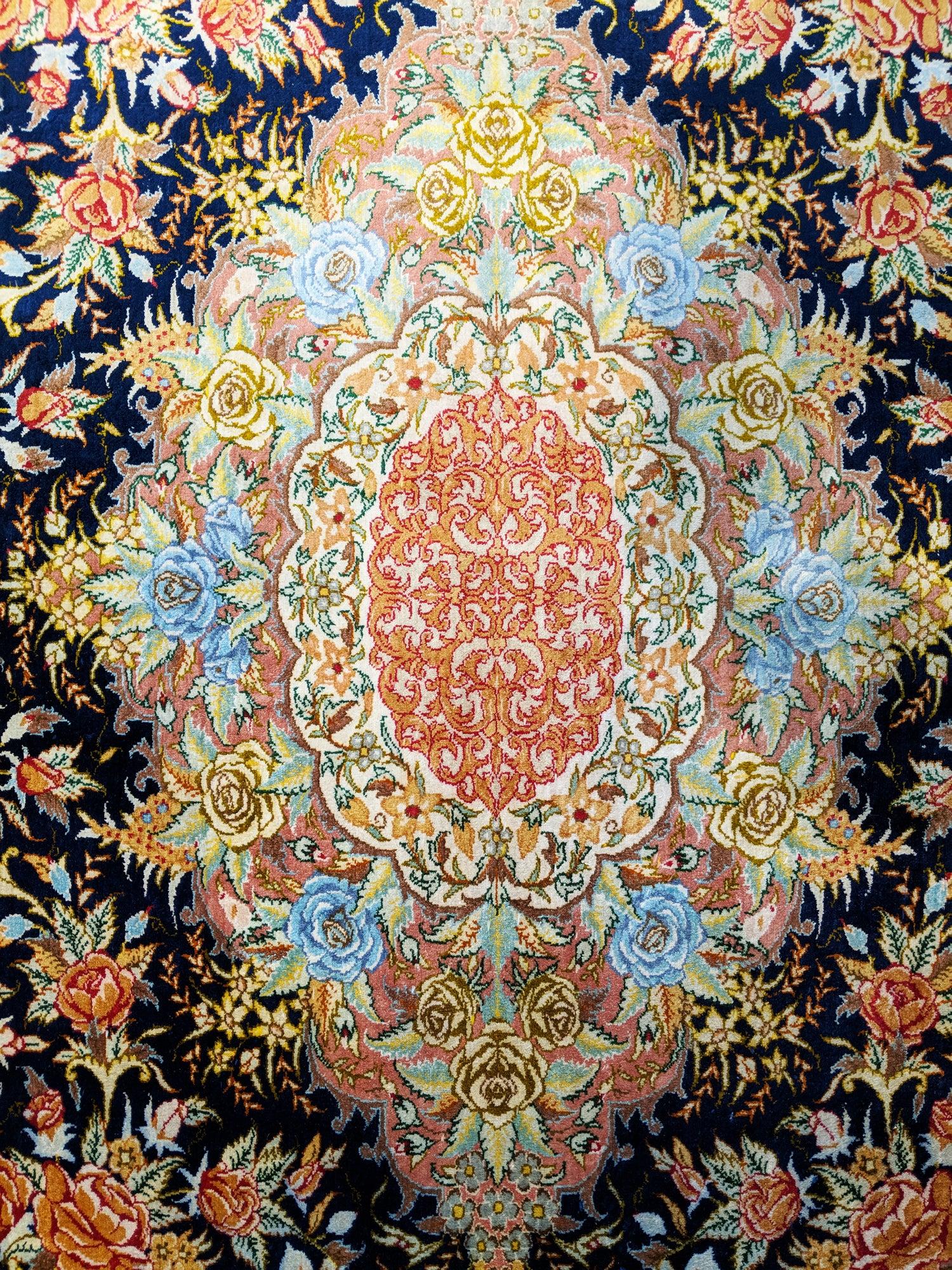 Fine Signed Persian Qum Silk Rug
