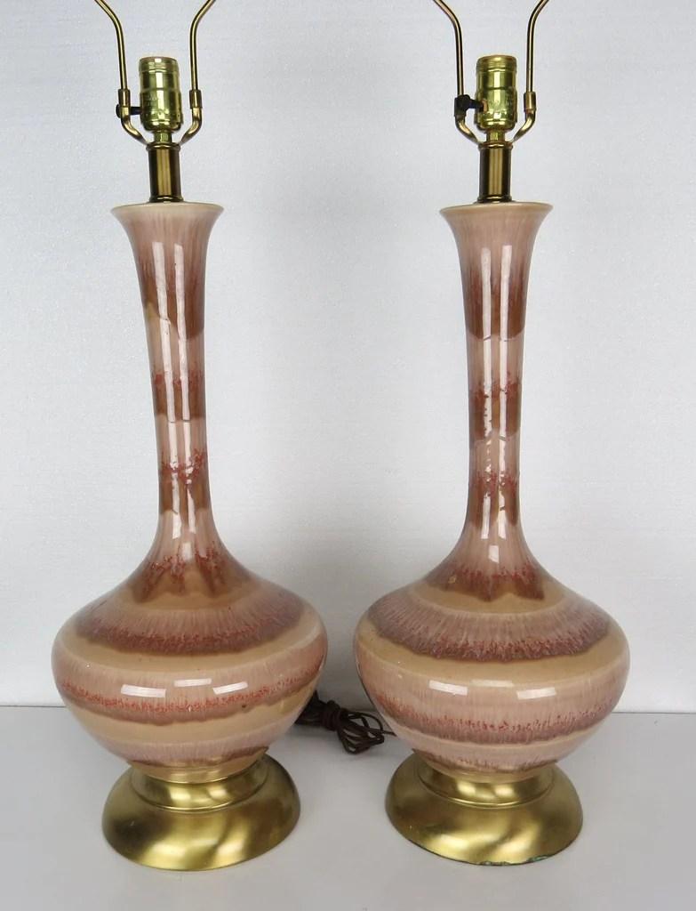 Mid Century Modern Pink Italian Glazed Ceramic And Brass
