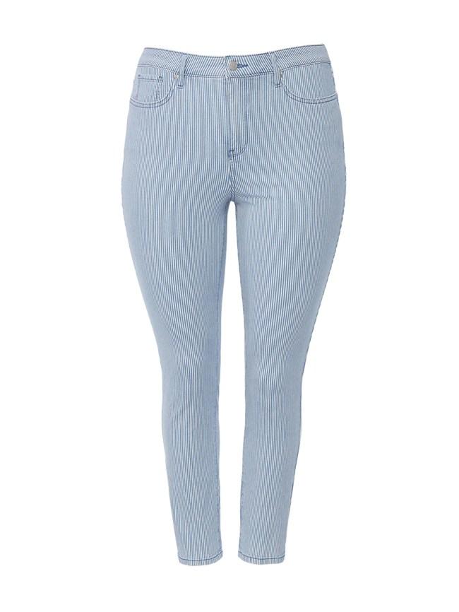 Alina Ankle Pinstripe Side Slit Jeans