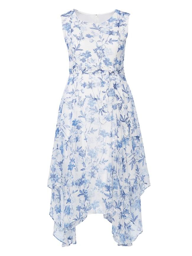 Blue And White Floral Chiffon Midi Dress