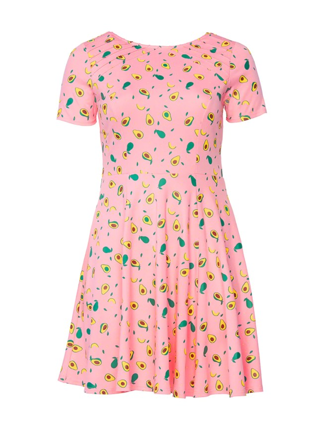 Avocado Print Pink Fit-And-Flare Dress