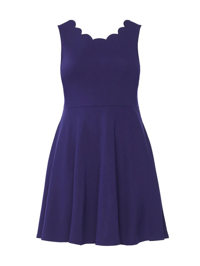 Scallop Trim Navy Fit-And-Flare Dress