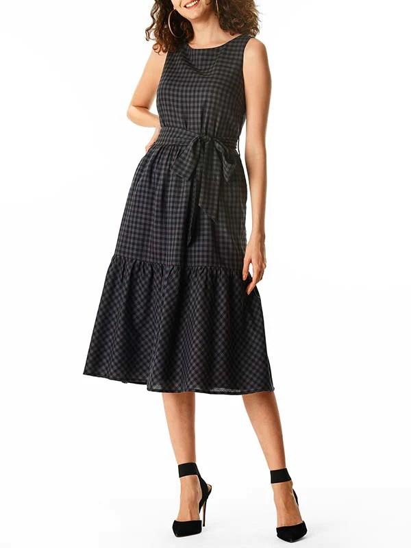 Gingham Ruffle Founce Hem Midi Dress