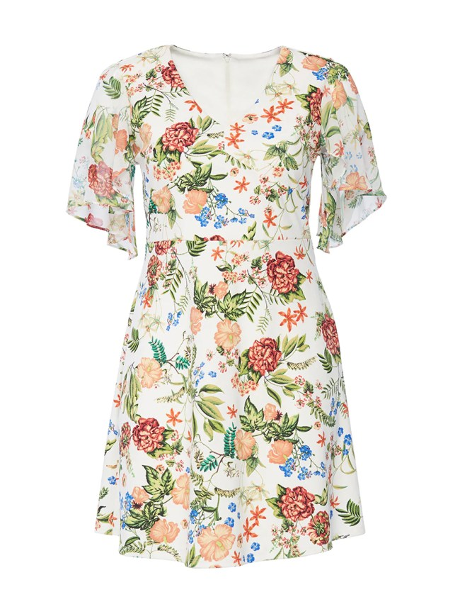 Chiffon Flounce Sleeve Floral Fit-and-Flare Dress