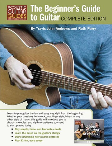 """Book cover for """"The Beginner's Guide to Guitar"""" by Travis John Andrews and Ruth Parry"""