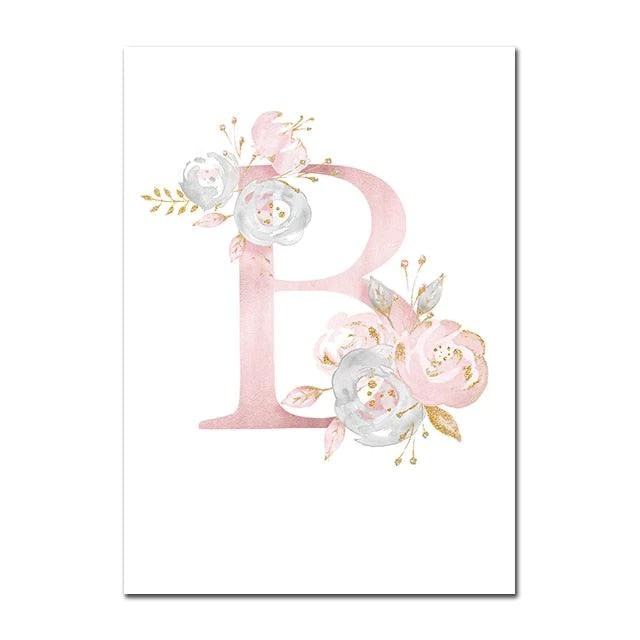 baby posters personalized girl s name custom poster nursery prints pink flowers wall art canvas painting pictures for girls room