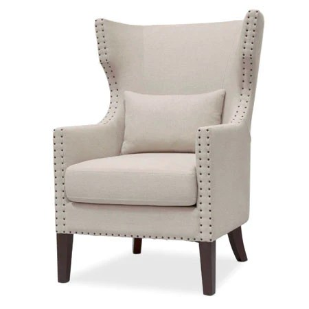 Wingback Chair Linen Fabric With Nailhead Trim Canvas