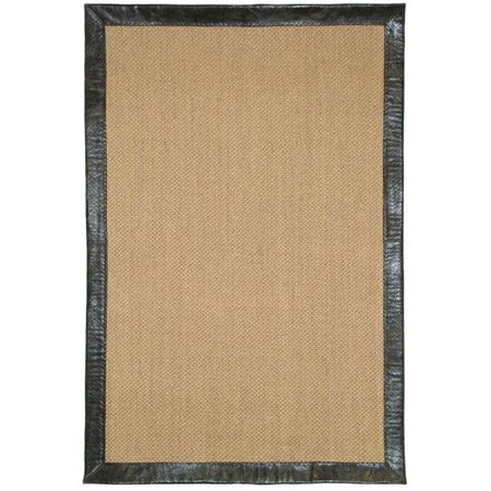 Sisal Area Rug Brown Leather Border Canvas Interiors