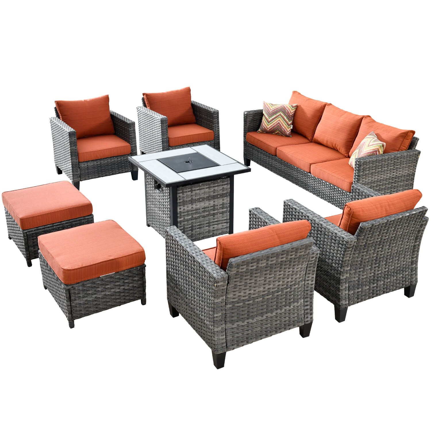 ovios patio furniture set backyard sofa outdoor furniture 6 pcs sets pe rattan wicker sectional with 2 pillows and coffee table no assembly