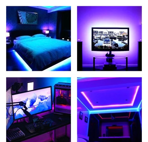 Led Strip Light With Remote Control Colored Lights For Rooms