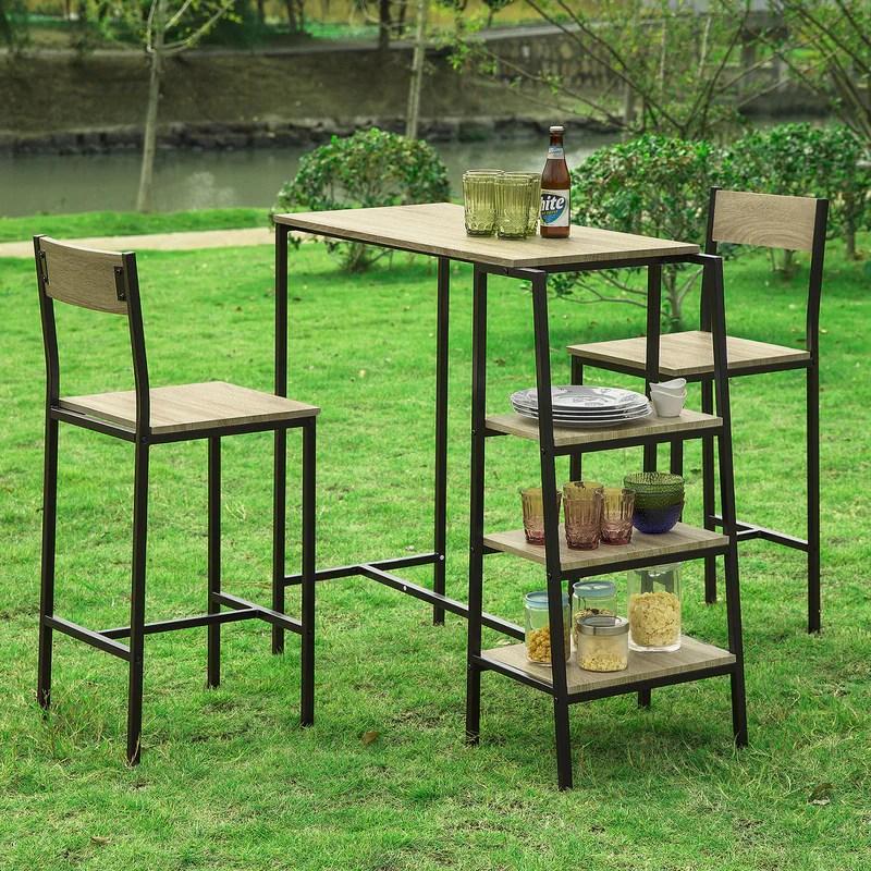 sobuy ogt16 n ensemble table de bar bistrot 2 tabourets de bar avec 3 etageres lateraux