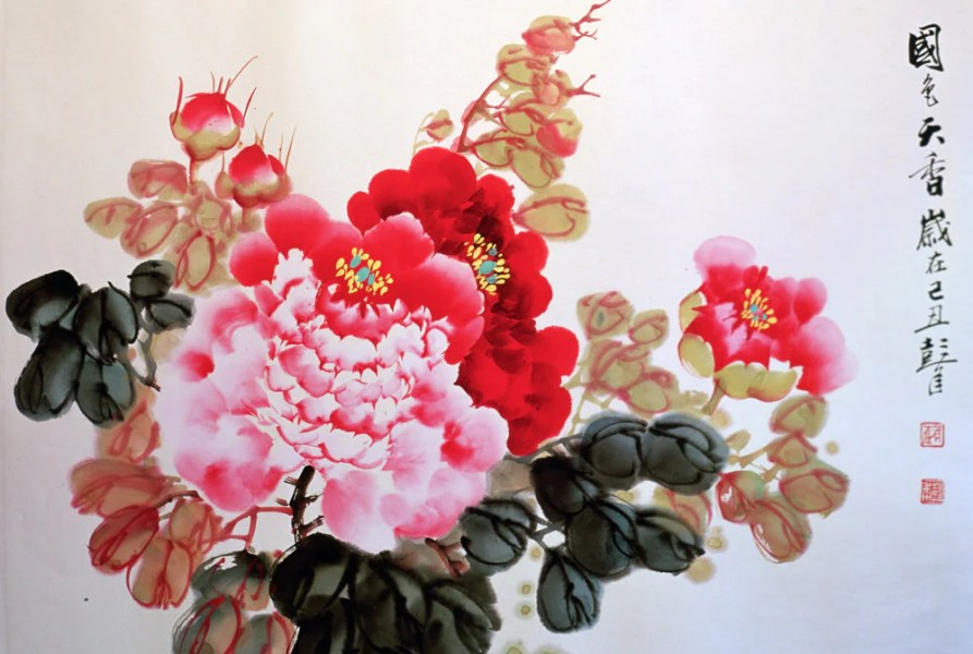 Art of Silk Blog   Peonies in Chinese Art and Culture A typical Chinese traditional painting of peonies