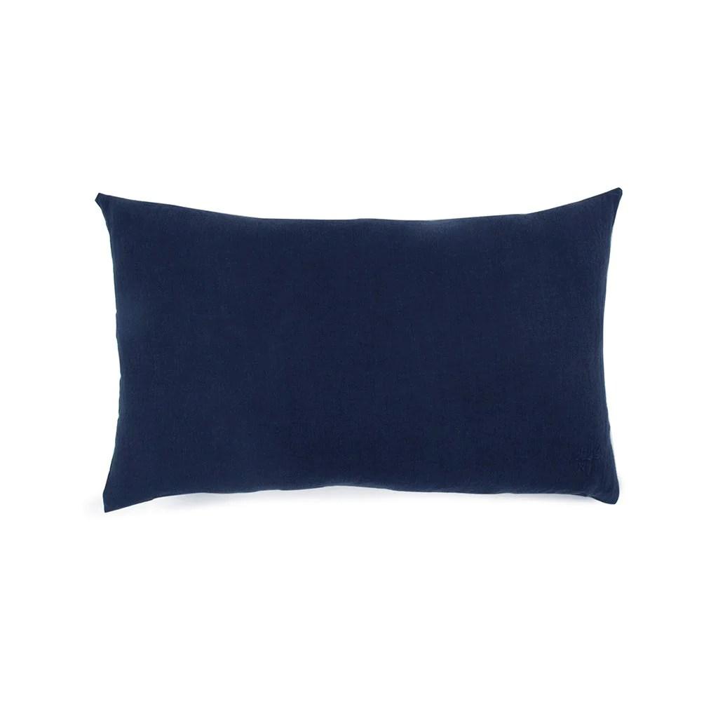 simple linen bolster pillow navy