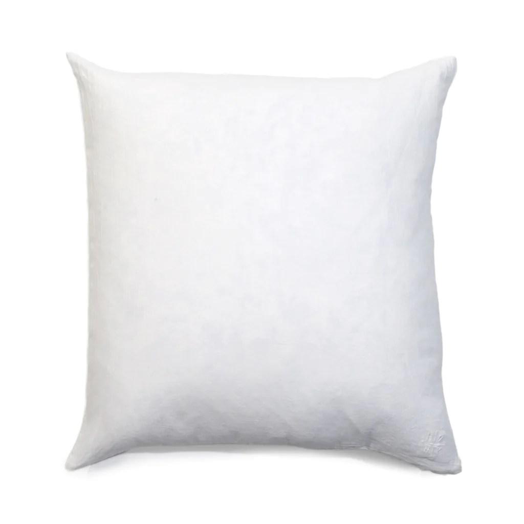 simple square linen pillow white