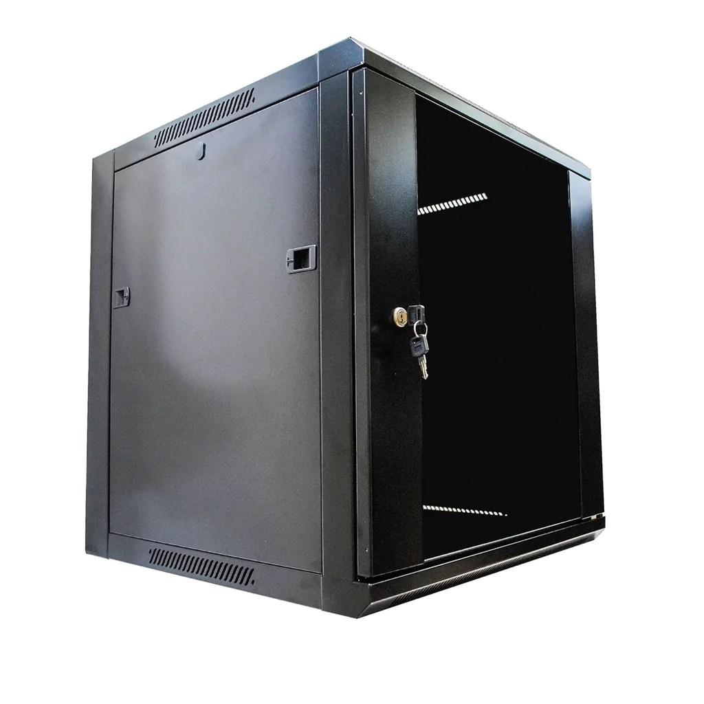 12u server rack cabinet enclosure wall mounted w locking glass door 17 7 inches depth
