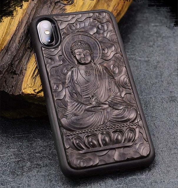 coque iphone prestige bouddha en bois d ebene sculpte