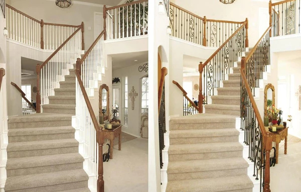 Iron Balusters Or Wood Balusters – Direct Stair Parts | Wood Handrail With Iron Balusters | Stairway | Wooden | Copper | Cast Iron | Landing