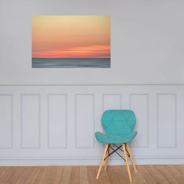 Abstract Color Blend Ocean Sunset as a loose (unframed) wall art print poster