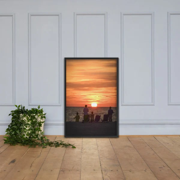 Summer Spectators Coastal Sunset landscape photograph as a framed 24 x 36 wall art print