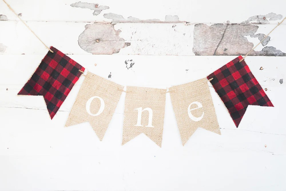 plaid one banner lumberjack first birthday party decorations