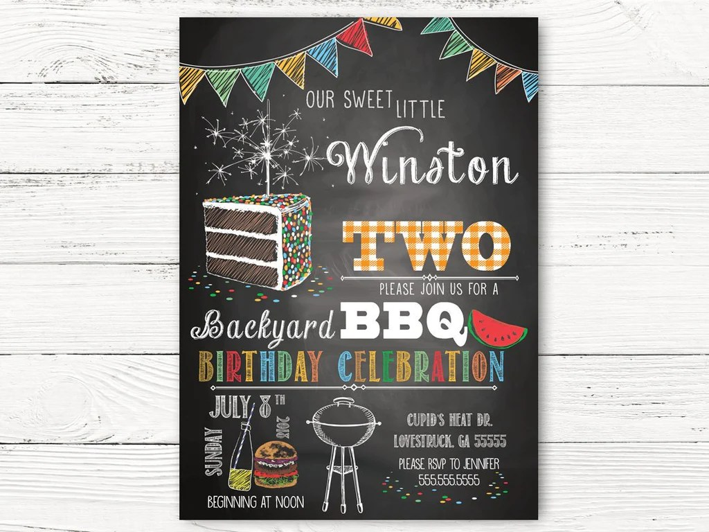 digital bbq 2nd birthday invitation boy birthday invitations personalized barbecue invitation boy summer birthday invitation cards c121