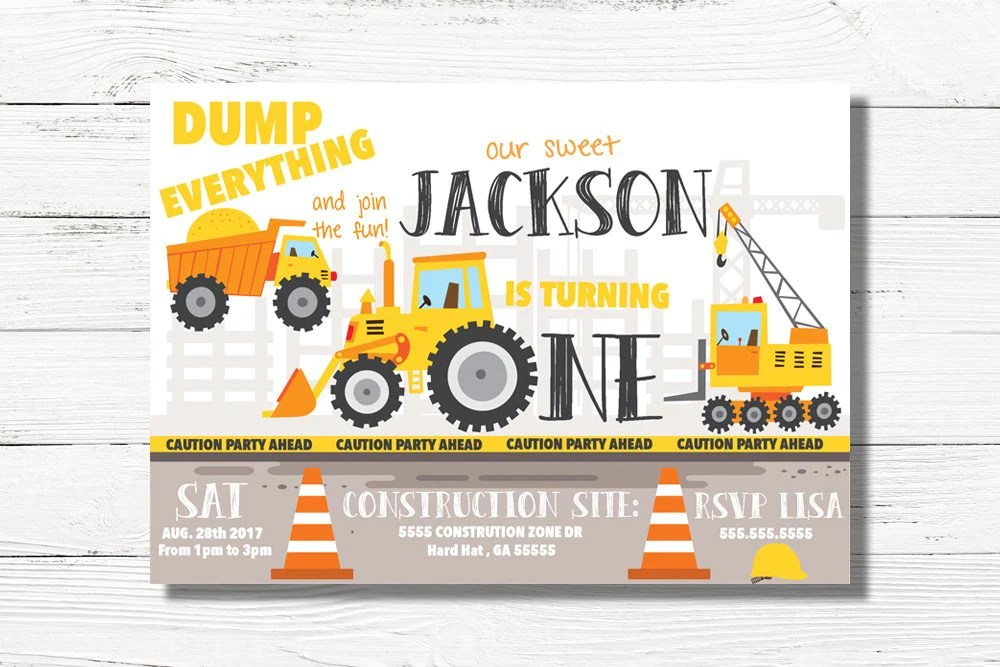 construction 1st birthday invitations
