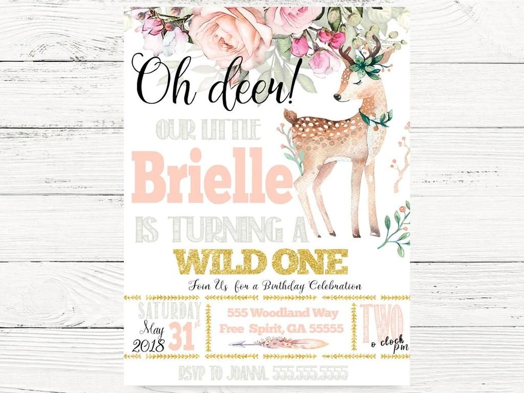 oh deer 1st birthday invitations