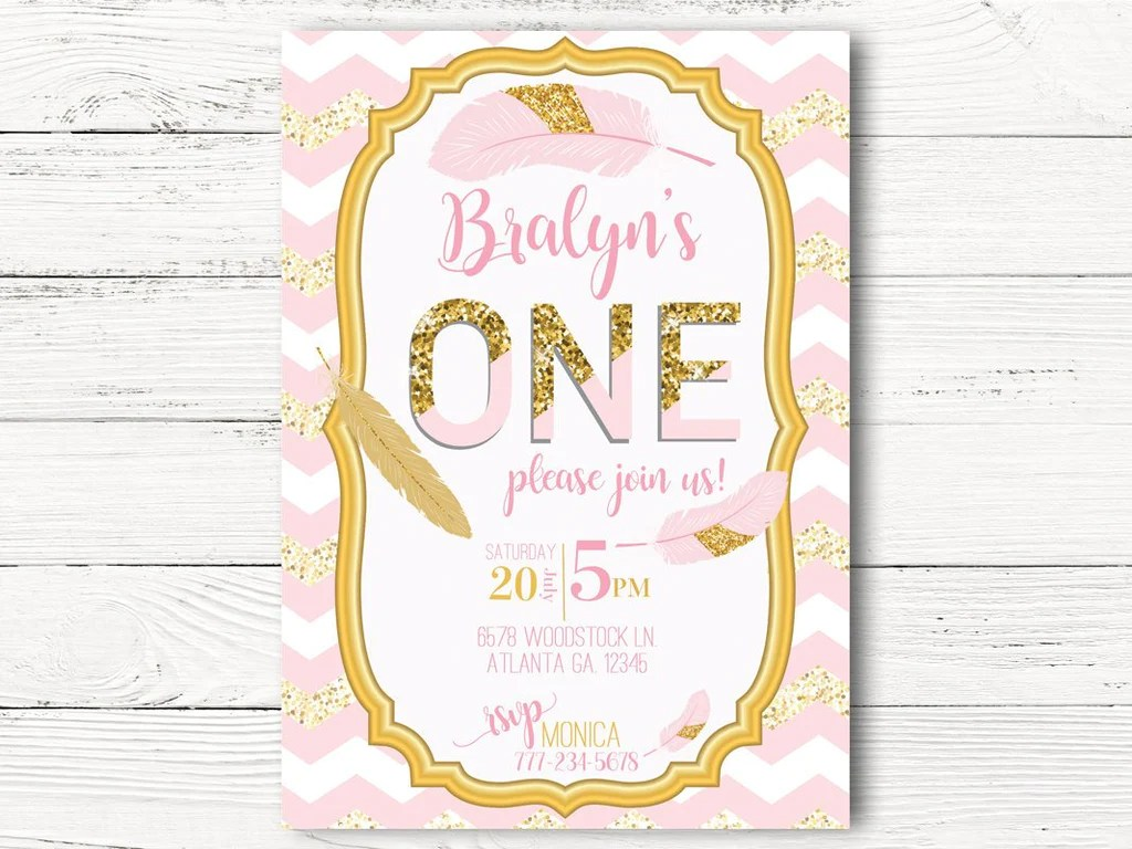 pink gold 1st birthday invitations