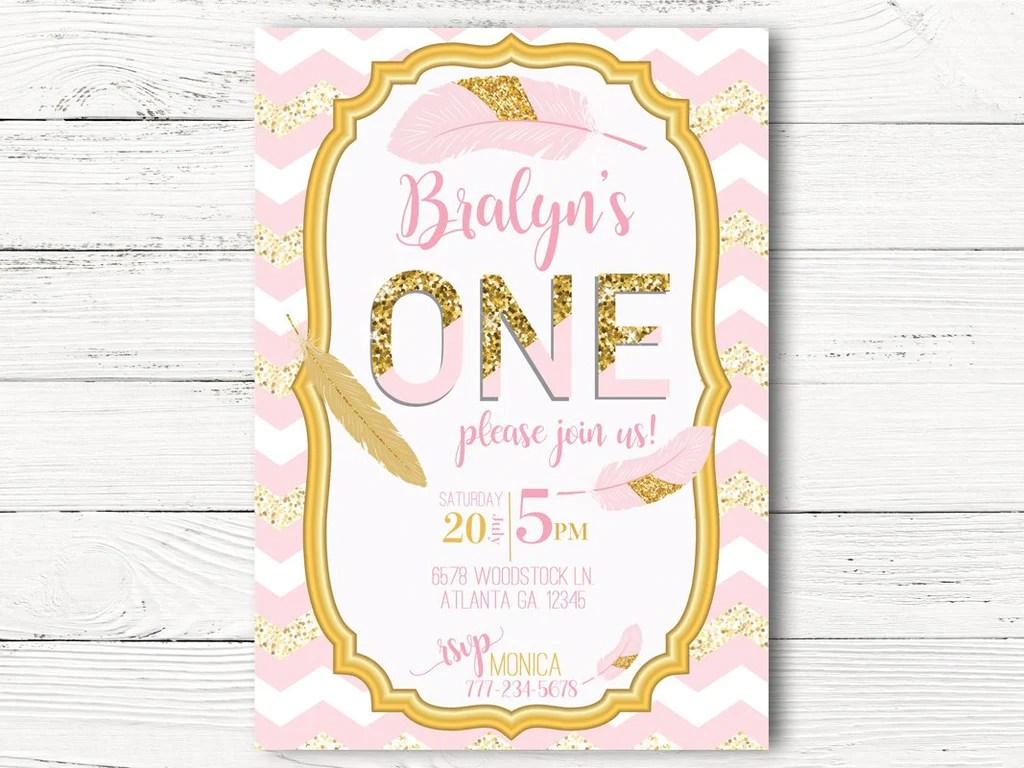 pink gold 1st birthday invitations