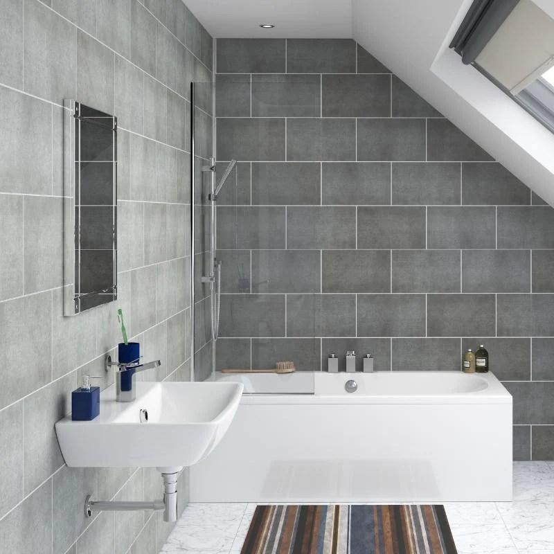 stone grey tile effect