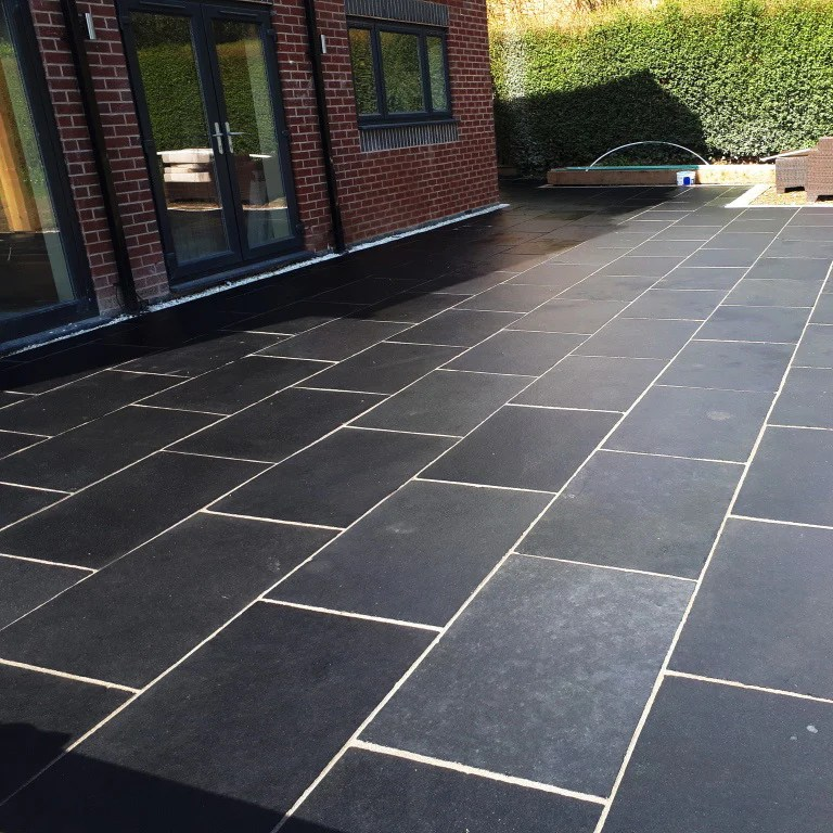 black limestone paving slabs midnight sawn edge 900 x 600 22mm 22 49 m2