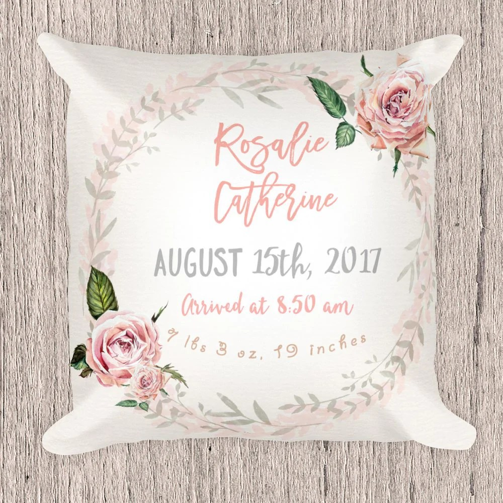 birth announcement pillow for girl vintage roses collection
